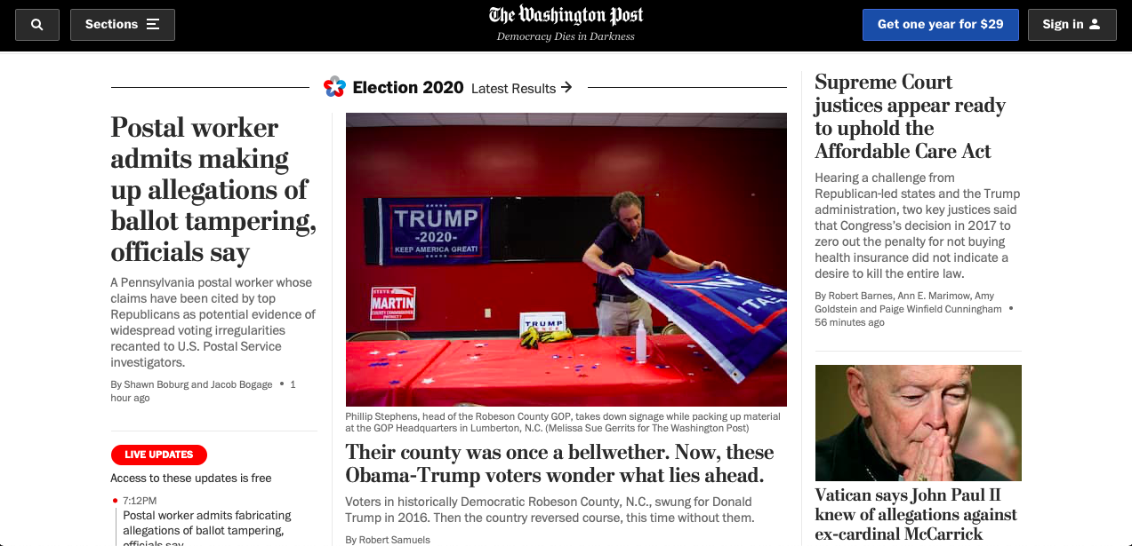 Washington Post Website Interface