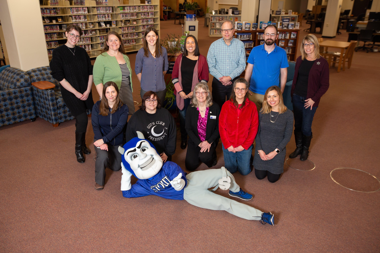 Librarians and Stout Mascot Blaze