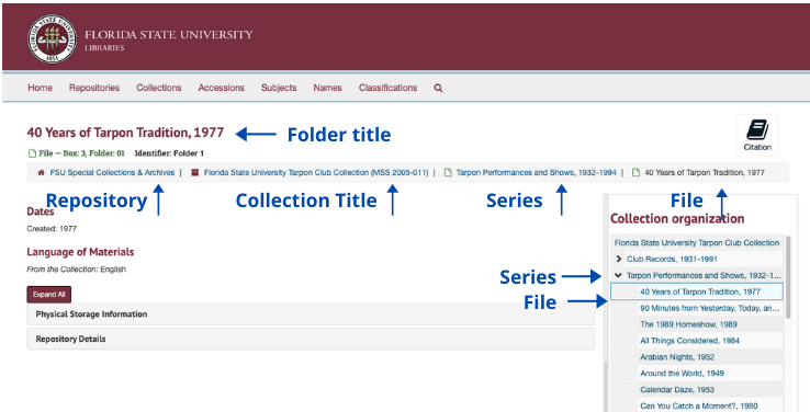 Annotated screenshot of a file level finding aid in ArchivesSpace.