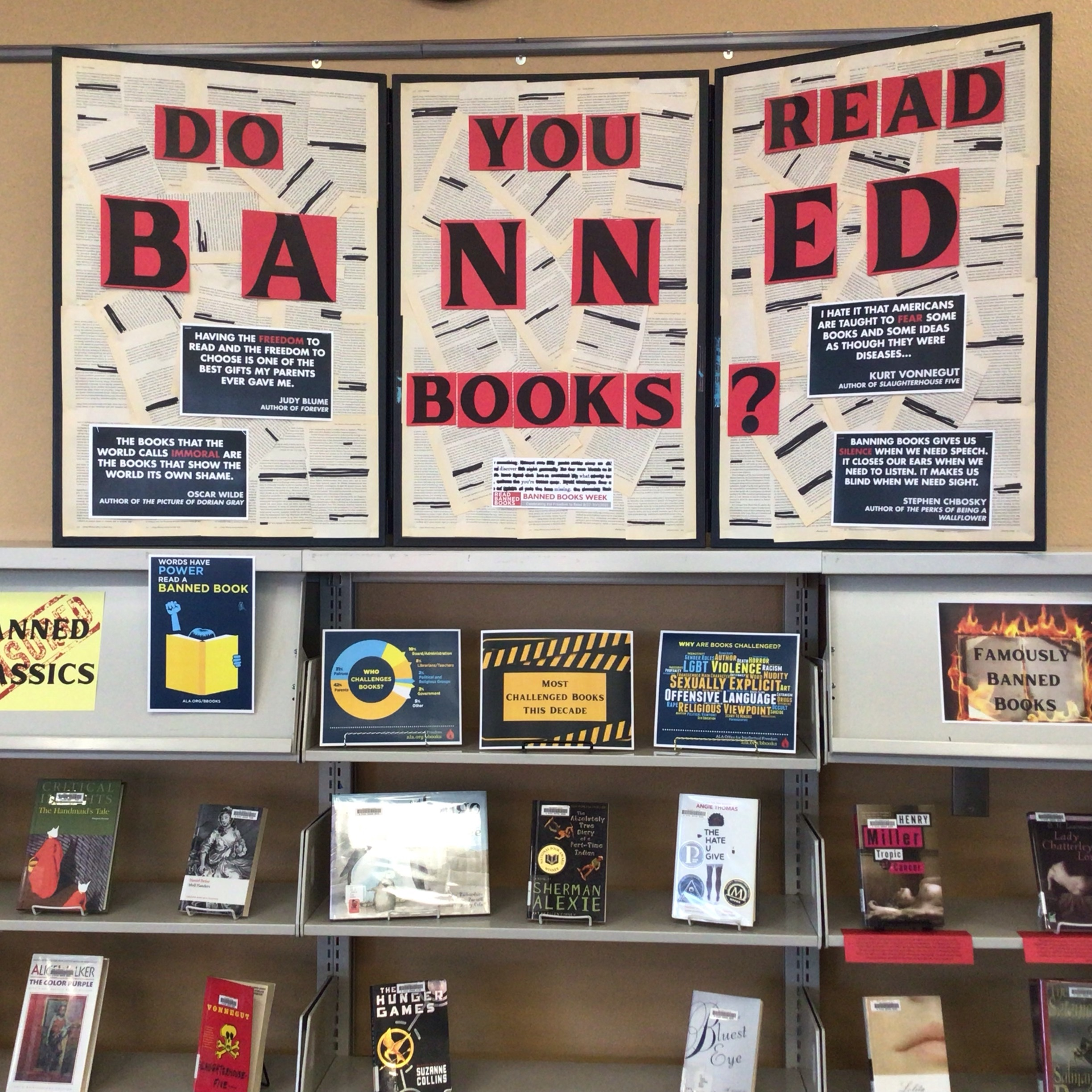 image of NW Library Banned Books Display