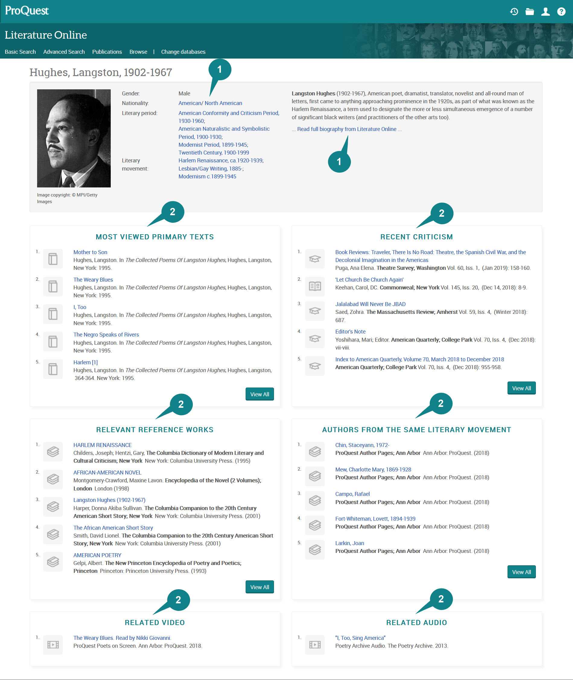Image of Langston Hughes Author page in Literature Online