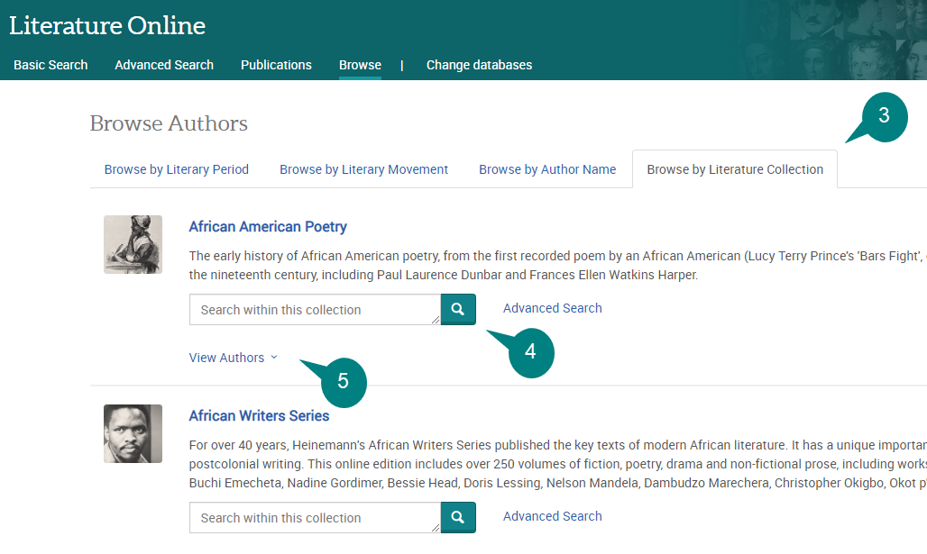 Screenshot of Literature Online's browse collections tab