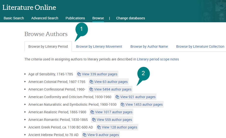 Literature Online screenshot of Browse menu
