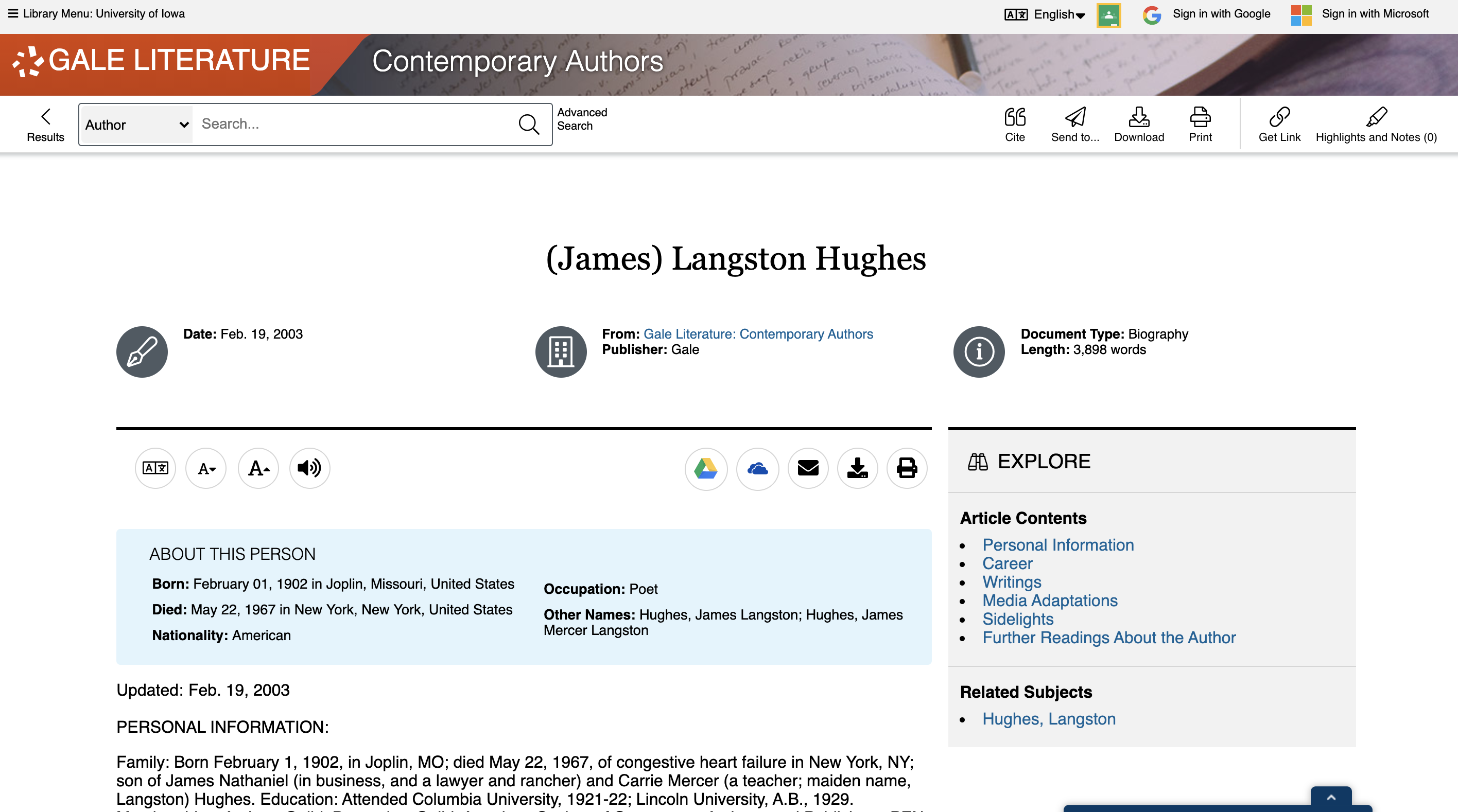 Screenshot of Contemporary Authors search result for Langston Hughes