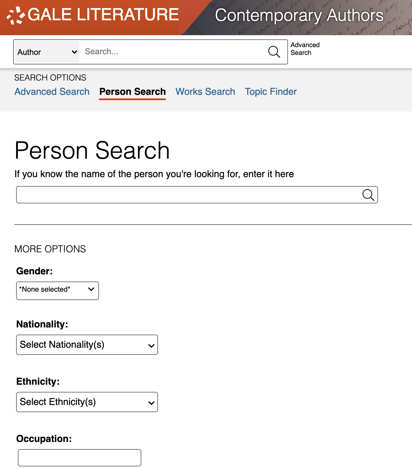 Screenshot of Contemporary Authors Person Search feature