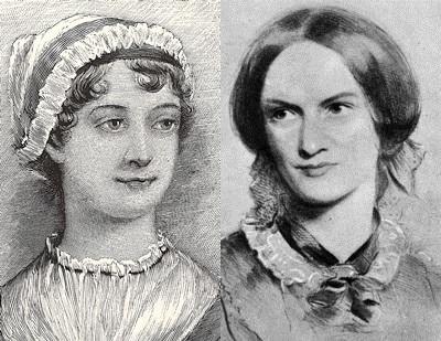 Pencil sketch of Jane Austen and Charlotte Brontë