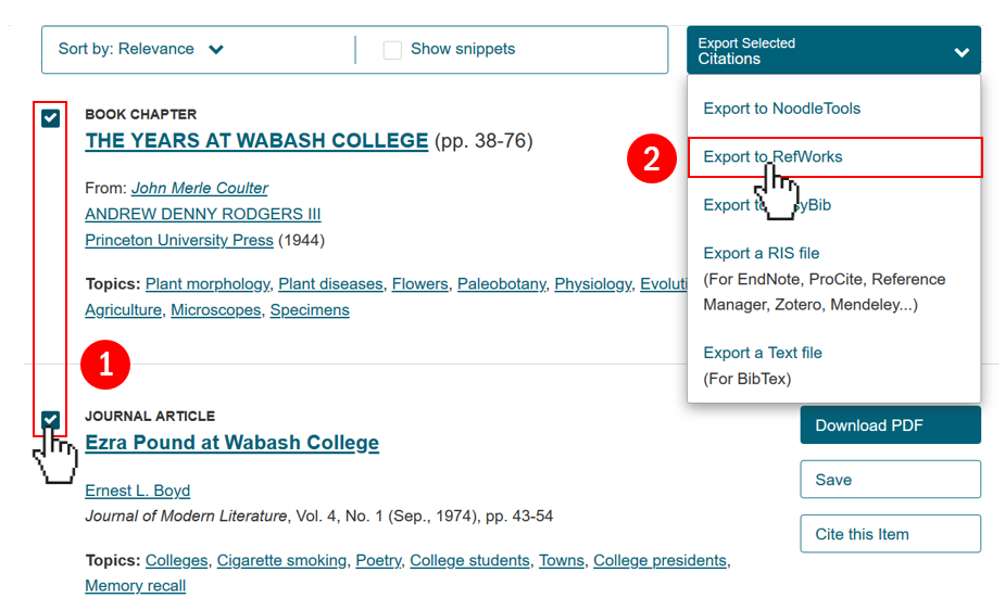 Batch Export Steps from JSTOR to RefWorks