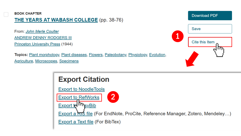 Exporting steps from JSTOR