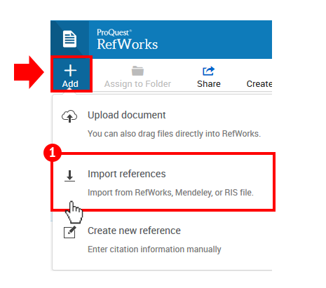 Click +Add button and select Import References