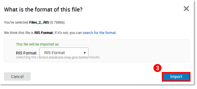 Verify that the RIS file is detected and click import
