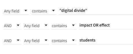 "Avanced search for ""digital divide"" AND impact OR effect AND students"