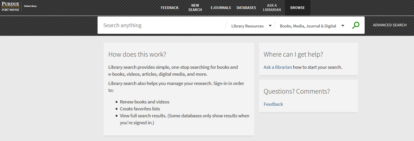 Library Search interface