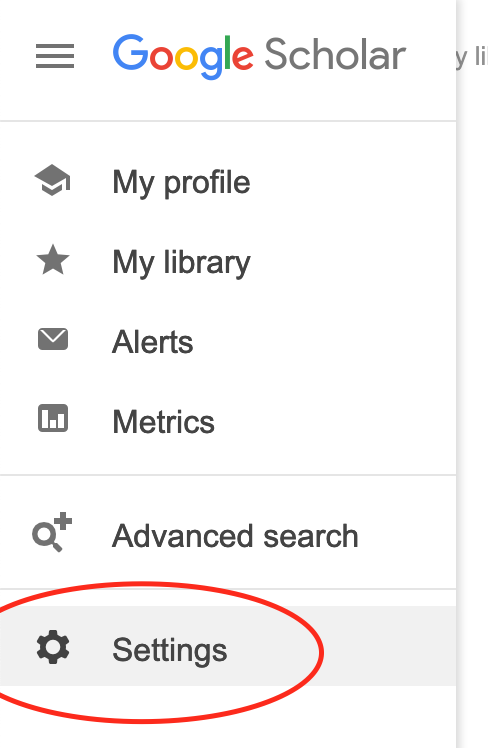Google Scholar menu with last choice, Settings, circled in red