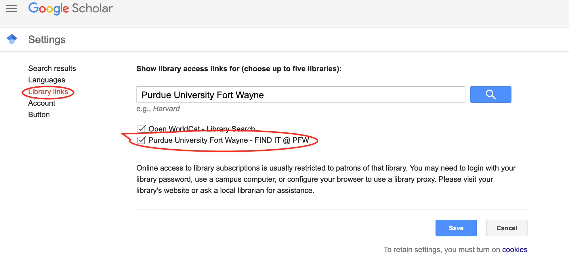 Settings menu for Google Scholar, library links option, with Purdue University Fort Wayne searched and selected