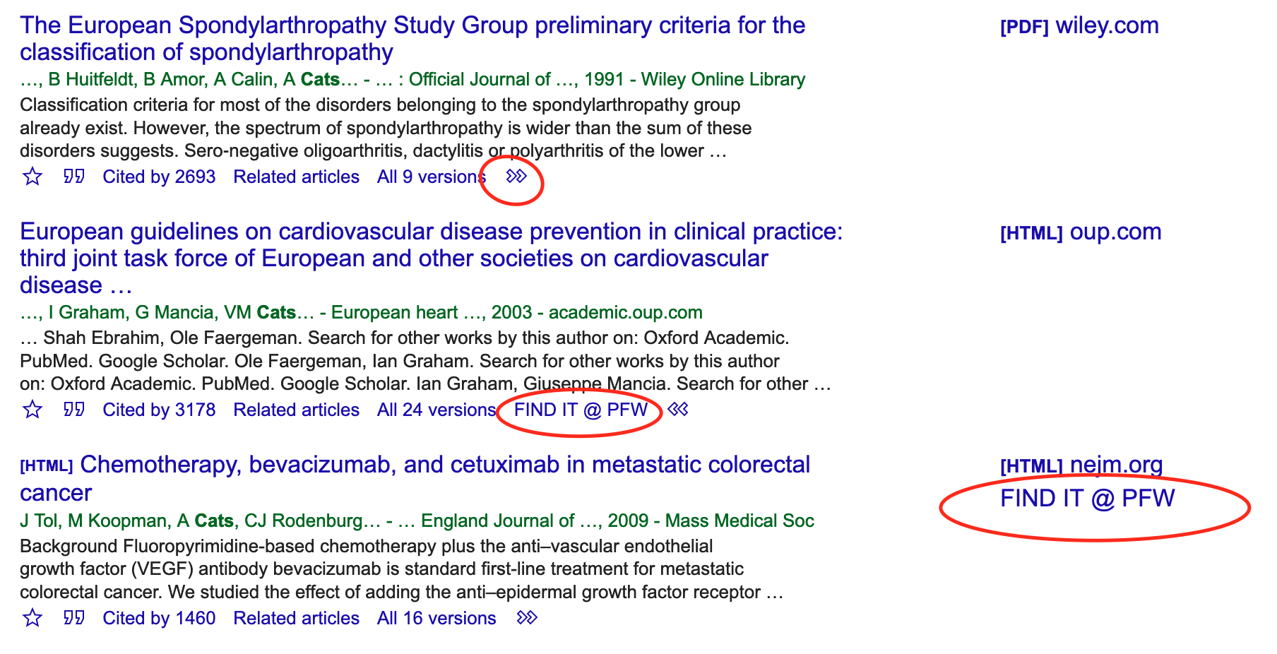 screencapture of google scholar results page with FindIt options circled in red