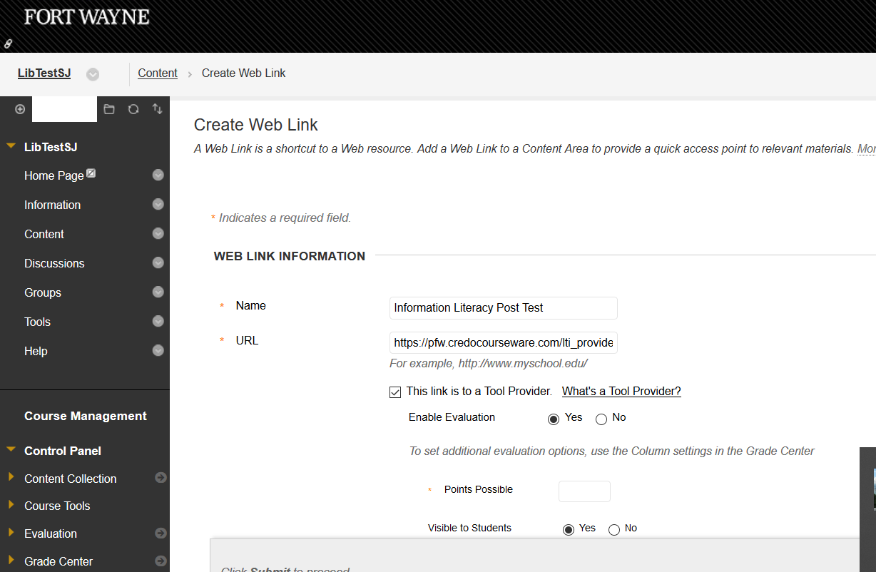 Create Web Link page in Blackboard
