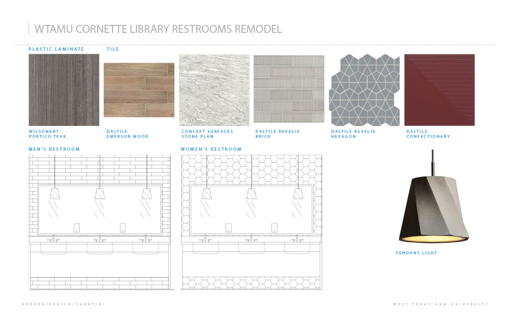 Picture of materials that will be used in the restroom remodel.