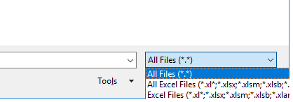 "Filetype dropdown showing ""All Files"" highlighted"