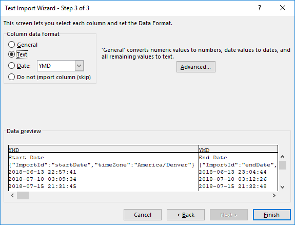 Text Import Wizard Step 3