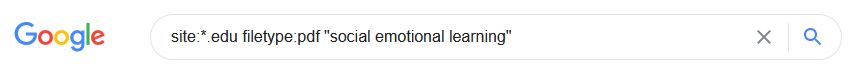 """A Google search box that contains the search string: site:*.edu filetype:pdf """"social emotional learning"""""""