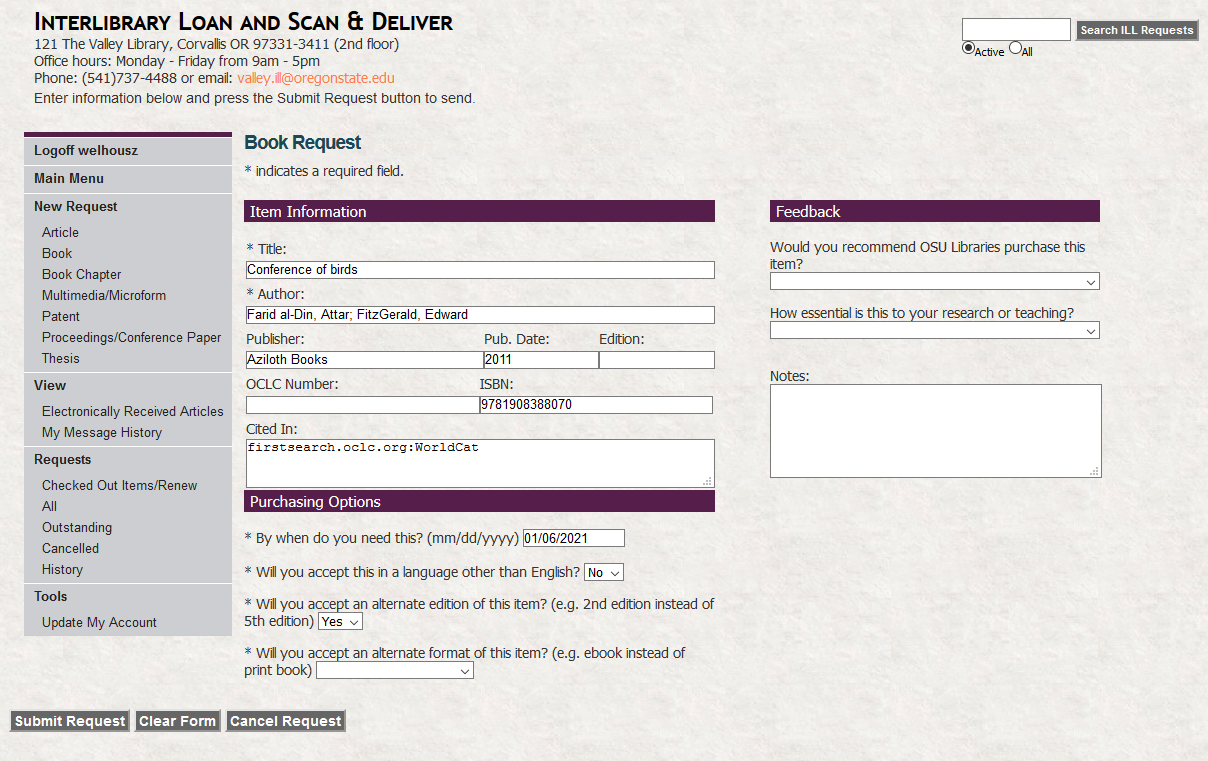A completed interlibrary loan request form