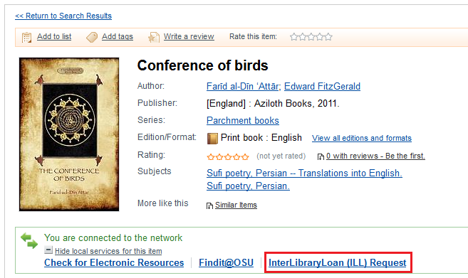 Conference of Birds, a book available on WorldCat
