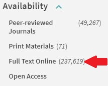 "Image of red arrow pointing at ""Full Text Online"" in library catalog filters."