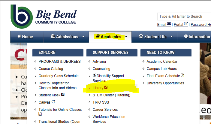Image of Big Bend CC Webpage Showing to Go to Academics to Library on drop down box