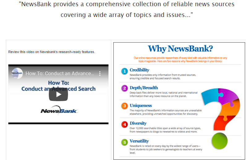Image of Newsbank video and why Newsbank is Database of month. Linked to more.