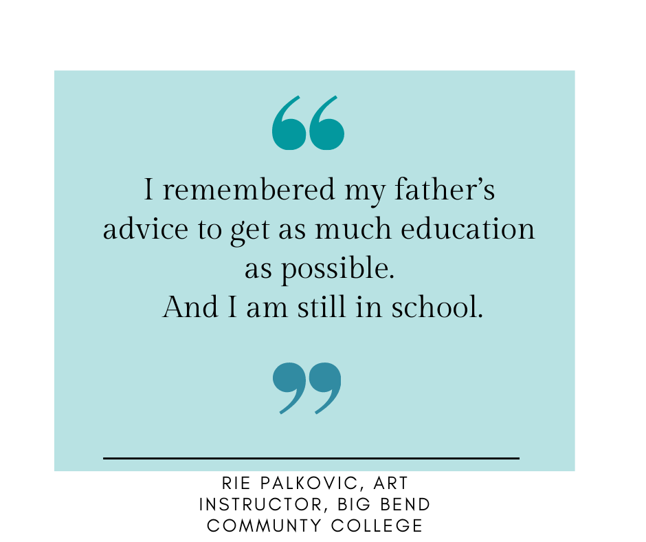Rie's quote about her father.