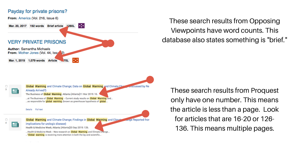 Example of the search results from Opposing Viewpoints and Proquest.