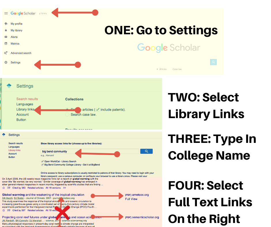 Step by step instructions for setting up Google Scholar.