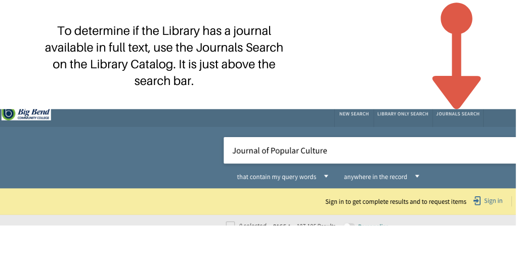 Shows where Journal Search is on the Library Catalog.