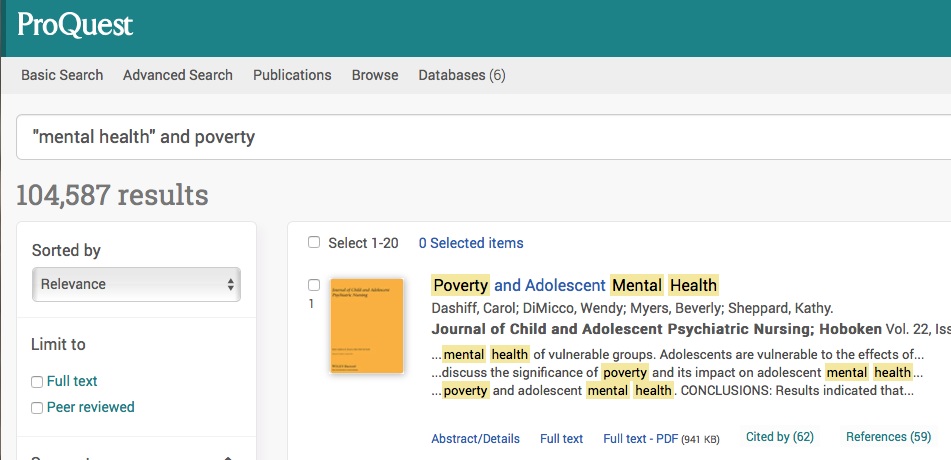 "Example of a Proquest Search using ""mental health"" and Poverty"