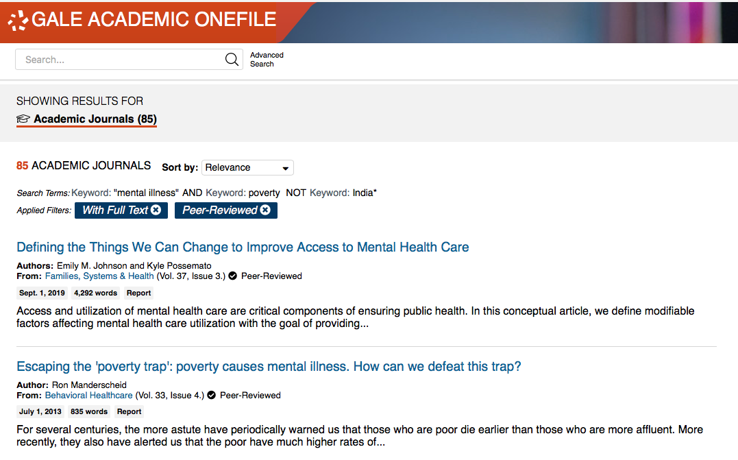 Academic One file sample search for peer reviewed, full text to find mental illness and poverty.