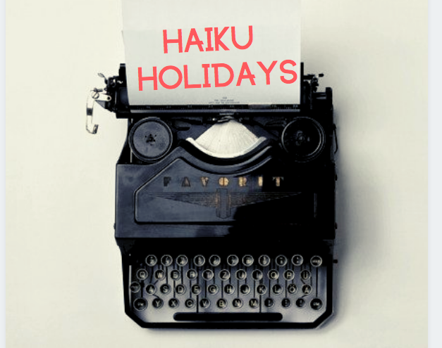 Photo of typewriter with Haiku Holidays typed