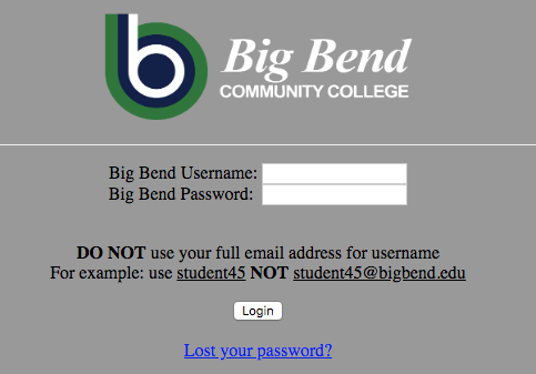 How to sign in off campus.  Leave out @bigbend.edu