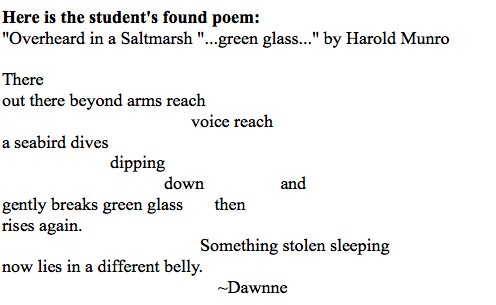Dawnne's found poem example.