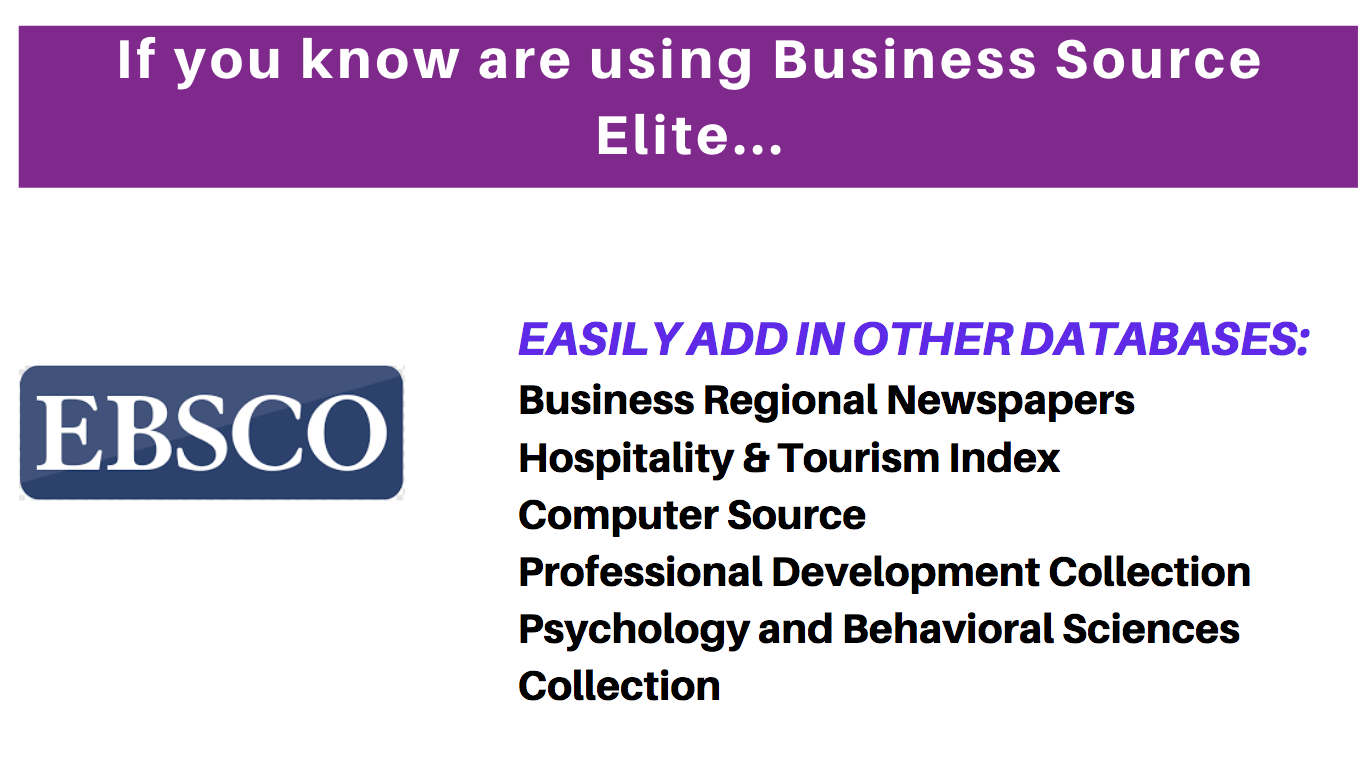 Add in other databases to your Business Source Elite search...