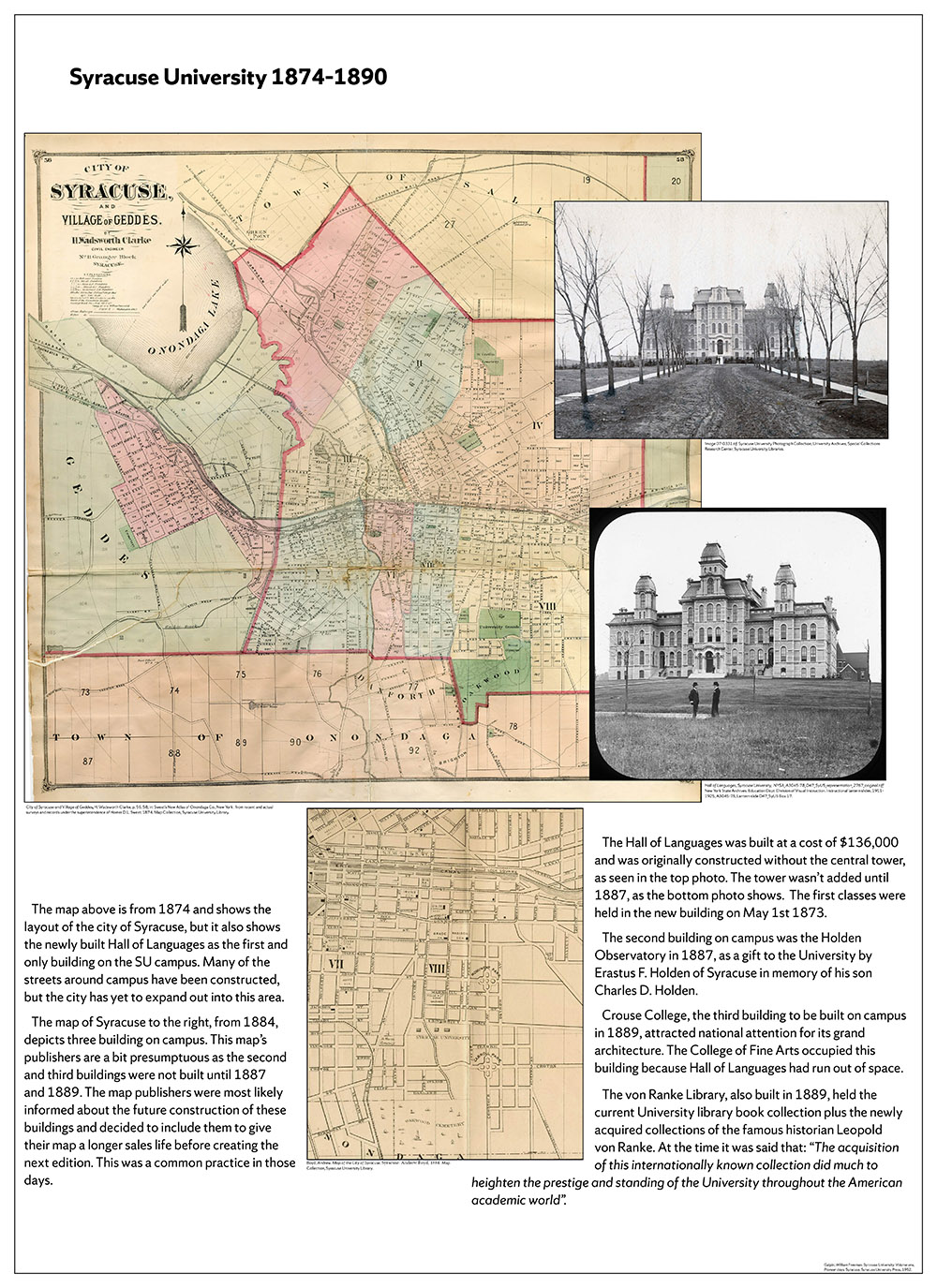 Syracuse University 150 years in maps – 1874-1890 poster