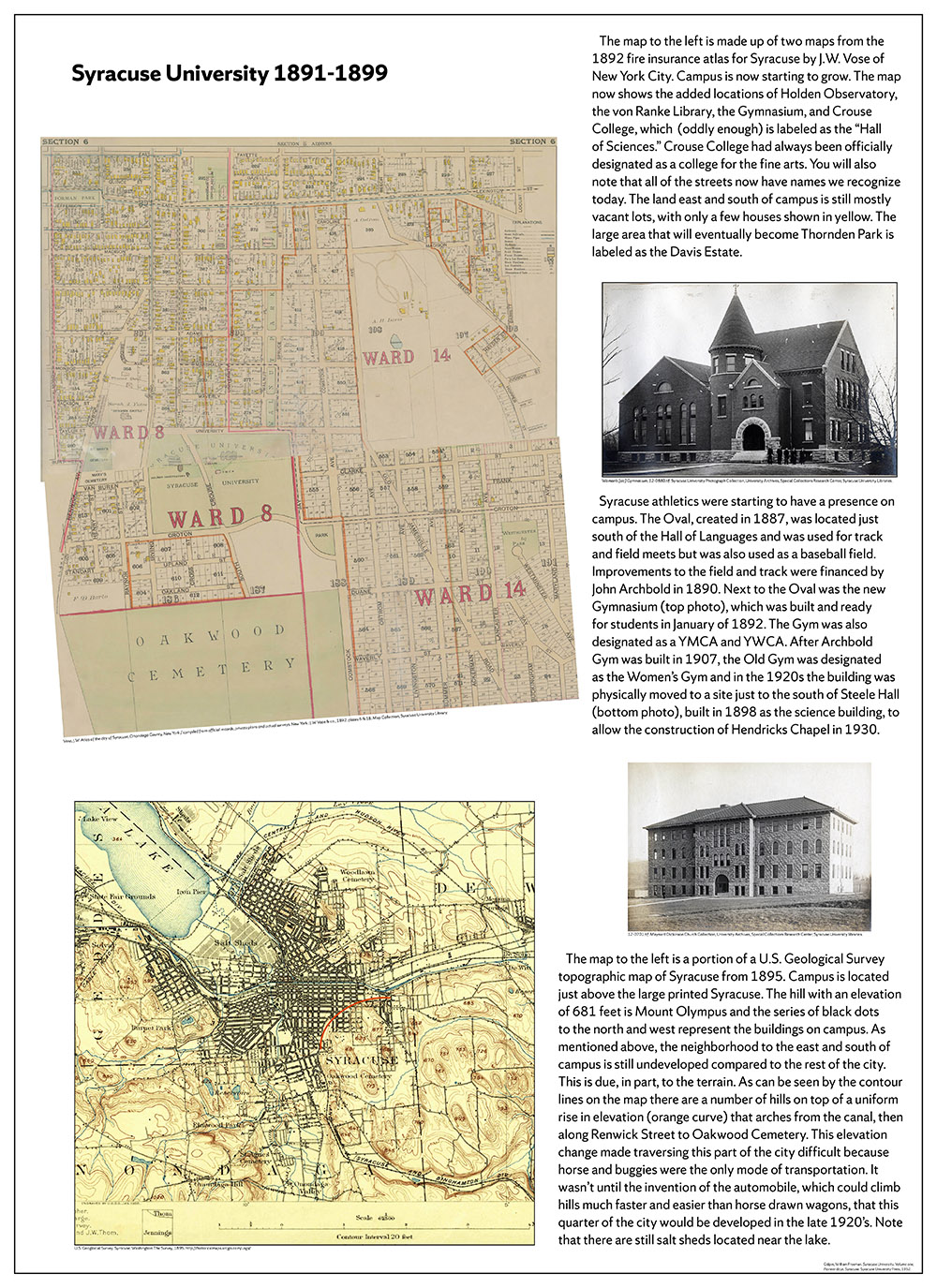 Syracuse University 150 years in maps – 1891-1899 poster