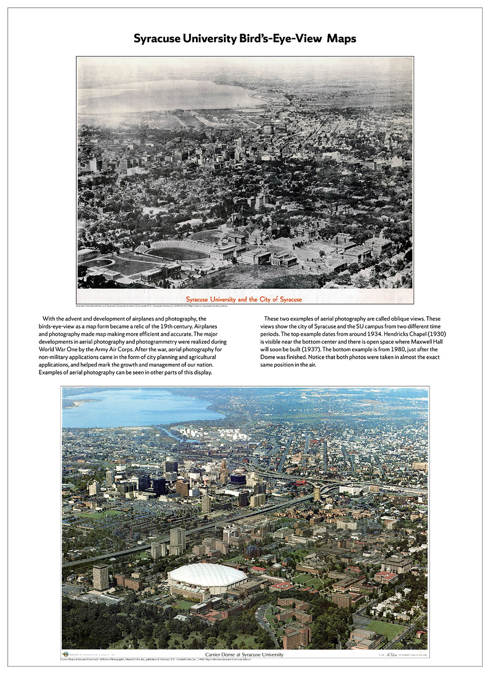 Syracuse University 150 years in maps – 1933 and 1980 panoramic air photos poster