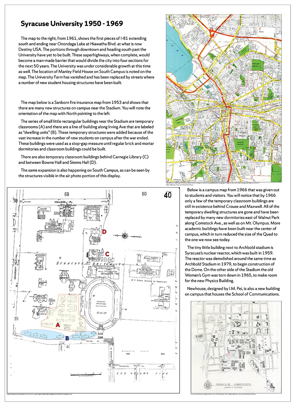 Syracuse University 150 years in maps – 1950-1969 poster
