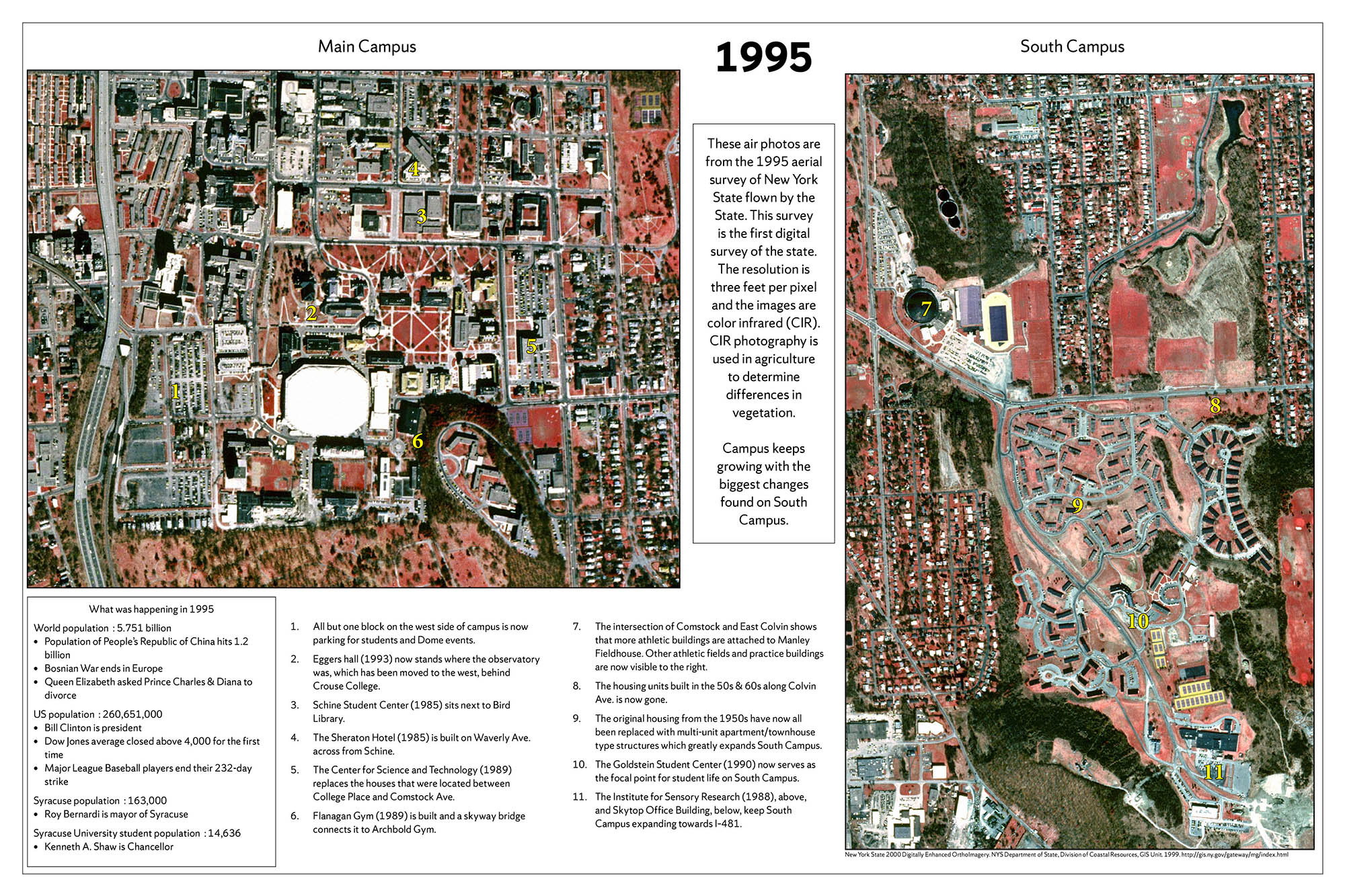 Syracuse University 150 years in maps – 1995 Air Photo poster