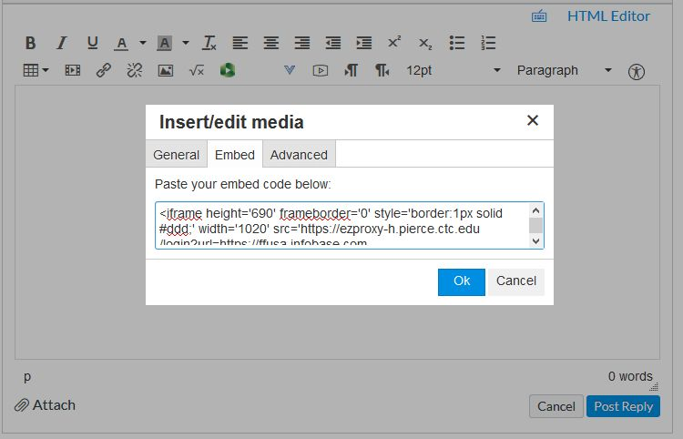 Canvas text editor with Insert/edit media box open to Embed tab