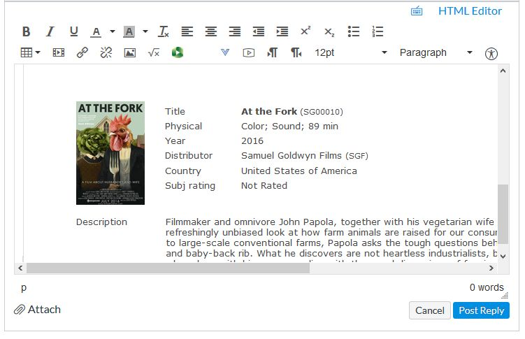"Canvas text editor showing an embedded film ""At The Fork"""