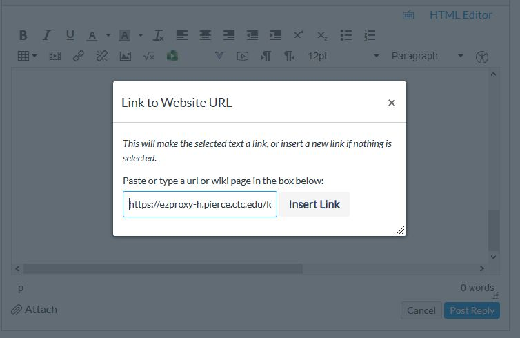 Canvas text editor with popup box for linking text to a URL