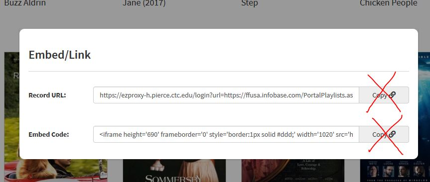 """FFE box displaying embed links with """"copy"""" buttons to the right, copy buttons have red Xs over them"""