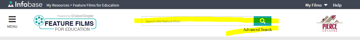 Feature Films for Education homepage header with search box highlighted in yellow