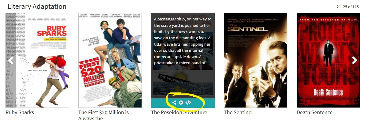 FFE display of 5 film images in the Literary Adaptation genre, with middle image displaying the description and sharing icons that appear when hovering, circled in yellow